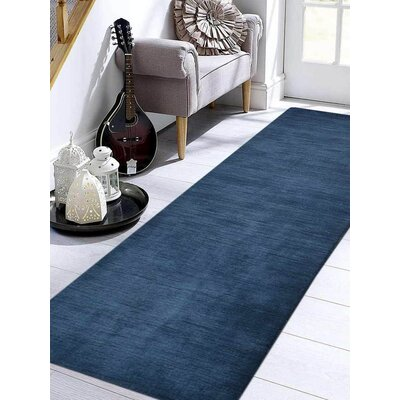 Rugsotic Solid Hand-Knotted Wool Blue Area Rug Rug Size: Runner 26 x 10