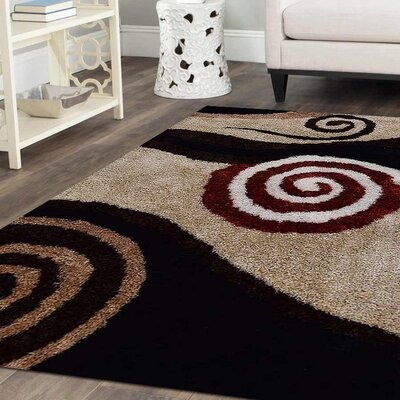 Debi Contemporary Hand Tufted Beige/Black Area Rug Rug Size: 8 x 10