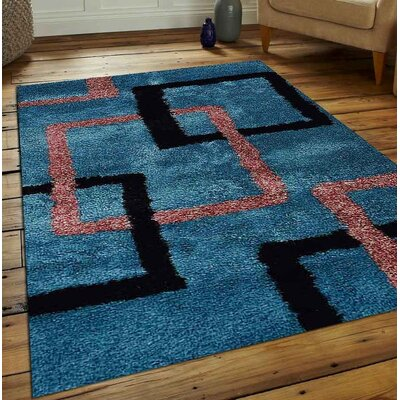 Halley Abstract Hand Tufted Firoza Area Rug Rug Size: 9 x 12