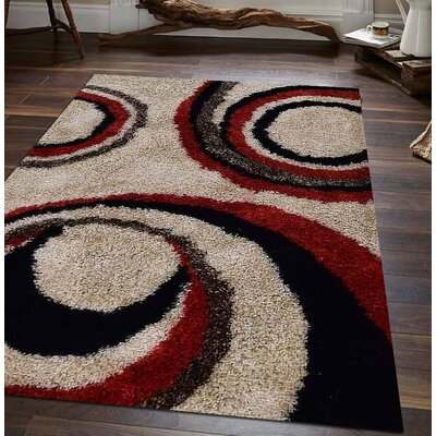 Abrielle Abstract Hand Tufted Ivory/Red Area Rug Rug Size: 8 x 10