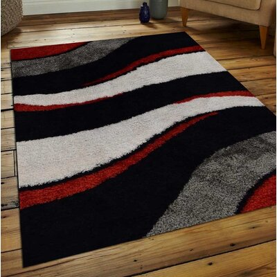 Abia Contemporary Hand-Woven Black/Gray Area Rug Rug Size: Rectangle�6 x 9