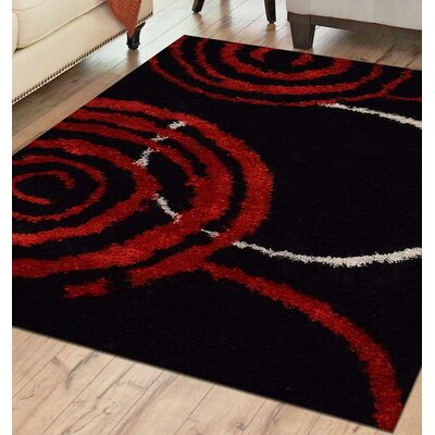 Vani Abstract Hand Tufted Black/Red Area Rug Rug Size: 6 x 9