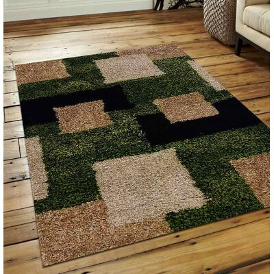 Mayer Geometric Hand Tufted Green/Beige Area Rug Rug Size: 8 x 10