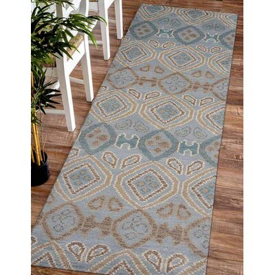Shuford Abstract Hand Knotted Wool Light Blue Area Rug