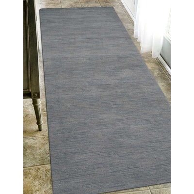 Delano Rectangle Solid Hand-Woven Wool Light Blue Area Rug Rug Size: Runner 26 x 12