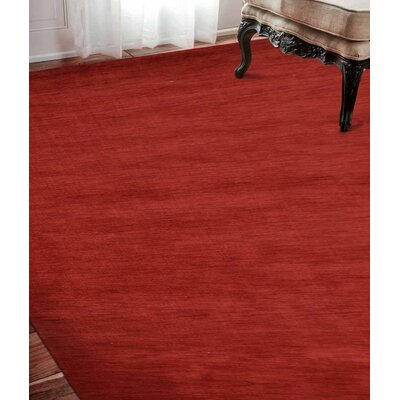 Delano Solid Hand Knotted Wool Red Area Rug