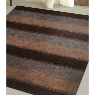 Delano Striped Hand Knotted Wool Dark Brown/Beige Area Rug