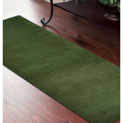 Delano Solid Hand-Woven Wool Green Area Rug Rug Size: Runner 28 x 10