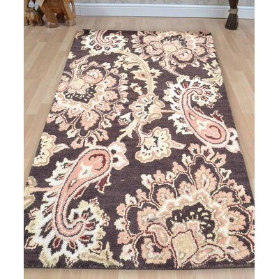 Kinzer Floral Hand-Woven Wool Brown Area Rug Rug Size: Square�10