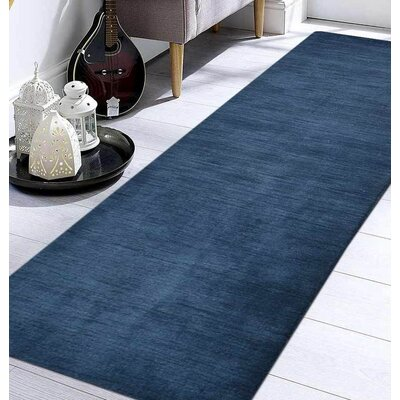 Delano Solid Hand Knotted Wool Blue Area Rug