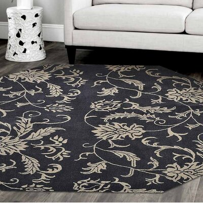 Kinmundy Floral Hand-Woven Wool Charcoal/Beige Area Rug Rug Size: Octagon 8'