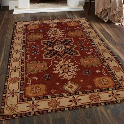Racheal Hand-Woven Wool Red/Beige Area Rug Rug Size: Rectangle�5 x 8