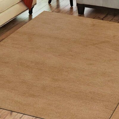 Ceniceros Solid Hand-Woven Wool Gold Area Rug Rug Size: Square 10