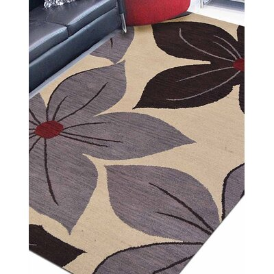 Delit Floral Hand Tufted Wool Brown/Cream/Gray Area Rug