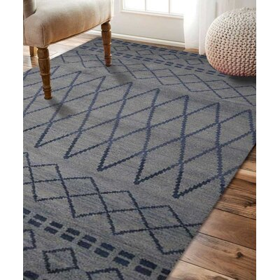 Bourke Geometric Hand Knotted Wool Light Blue Area Rug Rug Size: 9 x 12