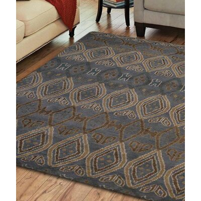 Danyel Abstract Hand Knotted Wool Light Blue/Gray Area Rug Rug Size: 9 x 12