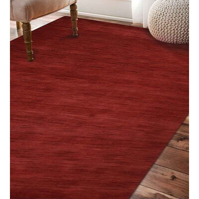 Delano Solid Hand Knotted Wool Dark Red Area Rug Rug Size: 6 x 9