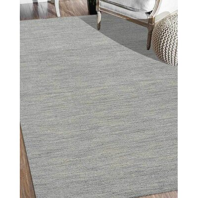 Delano Solid Hand Knotted Wool Gray Area Rug Rug Size: 6 x 9