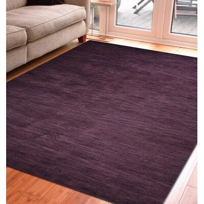 Delano Solid Hand Knotted Wool Purple Area Rug Rug Size: 6 x 9