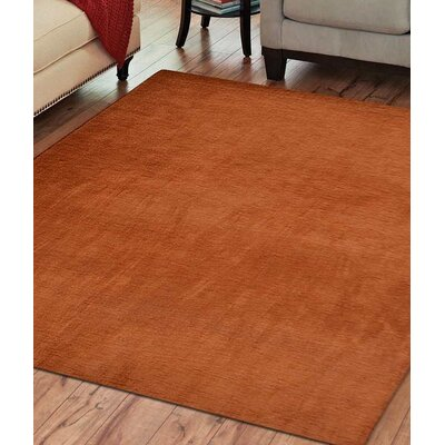 Delano Solid Hand Knotted Wool Orange Area Rug Rug Size: 10 x 13