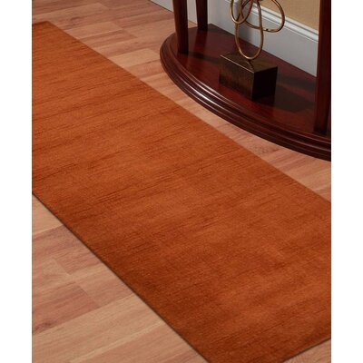 Delano Solid Hand Knotted Wool Orange Area Rug Rug Size: Runner 2 8 x 10