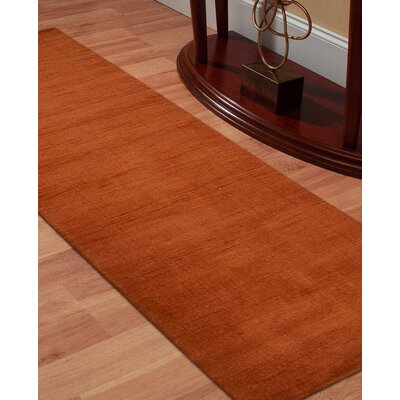Delano Solid Hand Knotted Wool Orange Area Rug Rug Size: Runner 2 6 x 12