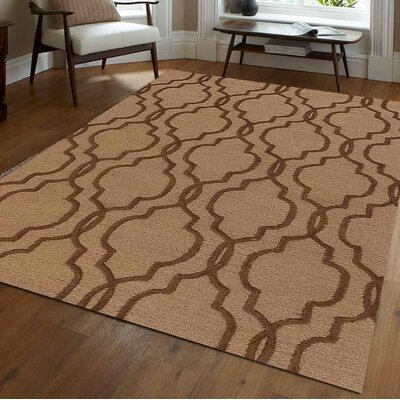 Gould Geometric Hand Tufted Wool Light Gold/Brown Area Rug Rug Size: 9 x 12