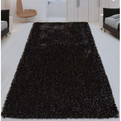 Sanford Solid Hand-Woven Silver/Black Area Rug Rug Size: Rectangle 6 x 9