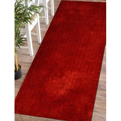 Sanford Solid Hand Tufted Red Area Rug Rug Size: Runner 2 6 x 8