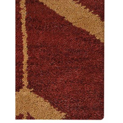 Rugsotic Hand-Knotted Red/Gold Area Rug Rug Size: 8 x 5