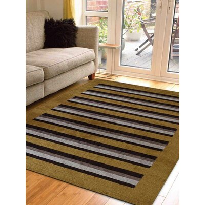 Ceniceros Striped Hand-Woven Wool Gold/Brown Area Rug Rug Size: Rectangle 8 x 10