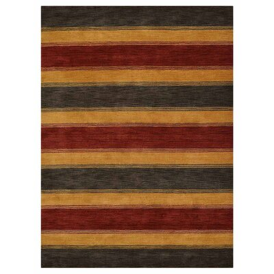 Zazueta Hand-Knotted Wool Red/Gold/Charcoal Area Rug