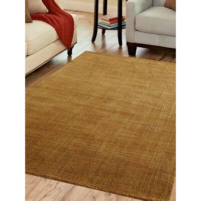 Ceniceros Solid Hand-Woven Wool Gold Area Rug Rug Size: Rectangle 3 x 5