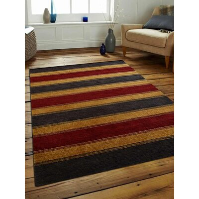 Ceniceros Striped Hand-Woven Wool Charcoal/Gold Area Rug Rug Size: Rectangle 6 x 9