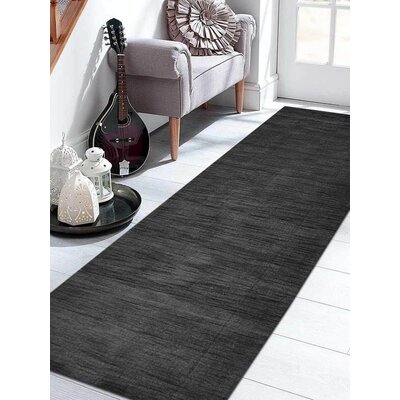 Ceniceros Solid Hand-Knotted Wool Charcoal Area Rug Rug Size: Runner 26 x 8