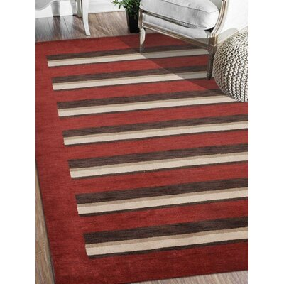 Ceniceros Striped Hand-Knotted Wool Red/Brown Area Rug Rug Size: 9 x 12