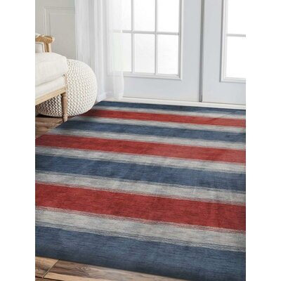 Janiya Striped Hand-Knotted Wool Blue/Light Blue Area Rug Rug Size: Rectangle 8  x 10