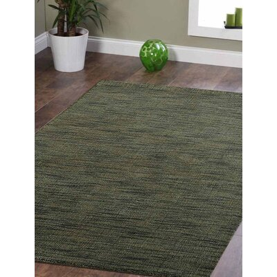 Ceniceros Solid Hand-Knotted Wool Green Area Rug Rug Size: 6 x 9