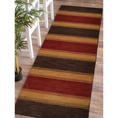Ceniceros Striped Hand-Knotted Wool Charcoal/Gold Area Rug Rug Size: Runner 26 x 10