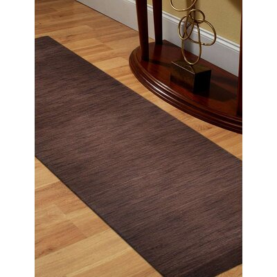 Ceniceros Solid Hand-Knotted Rectangle Wool Brown Area Rug Rug Size: 57 x 710