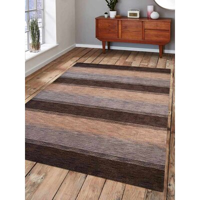 Ceniceros Striped Hand-Woven Wool Brown/Beige Area Rug Rug Size: Rectangle 5' x 8'