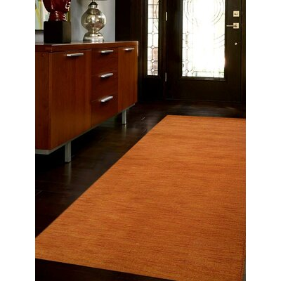 Ceniceros Solid Hand-Knotted Wool Orange Area Rug Rug Size: 6 x 9