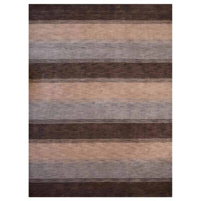 Ceniceros Striped Hand-Knotted Wool Brown/Beige Area Rug Rug Size: 5 x 8