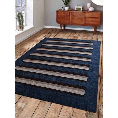Ceniceros Striped Hand-Woven Wool Blue/Brown Area Rug Rug Size: Rectangle 9 x 12