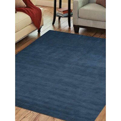 Rugsotic Solid Hand-Knotted Wool Blue Area Rug Rug Size: Square 10