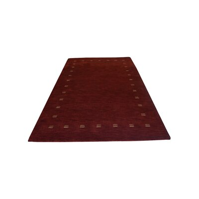Ceniceros Contemporary Hand Knotted Loom Wool Red Area Rug