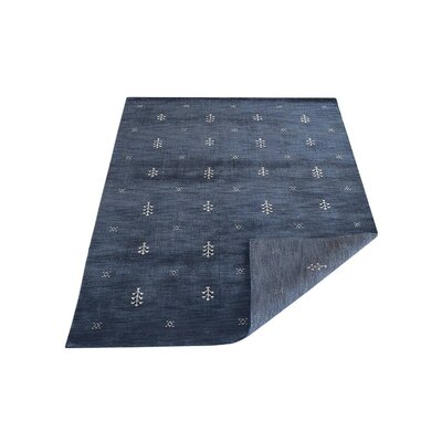 Ceniceros Contemporary Hand-Knotted Wool Blue Area Rug