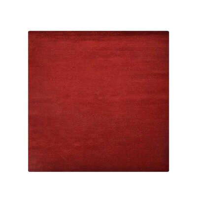 Ceniceros Solid Hand-Knotted Rectangle Wool Red Area Rug Rug Size: Square 10