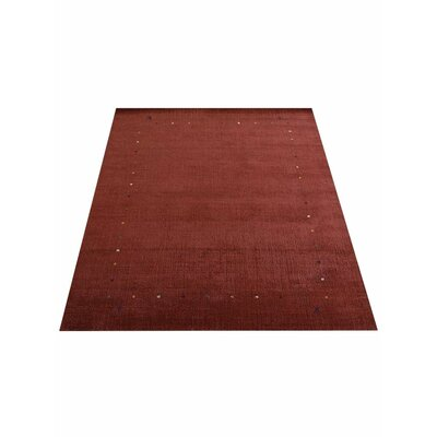 Ry Hand Knotted Loom Flat Surface Wool Red Area Rug Rug Size: 5 x 8