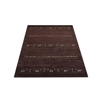 Maggiemae Hand Knotted Loom Wool Brown Area Rug